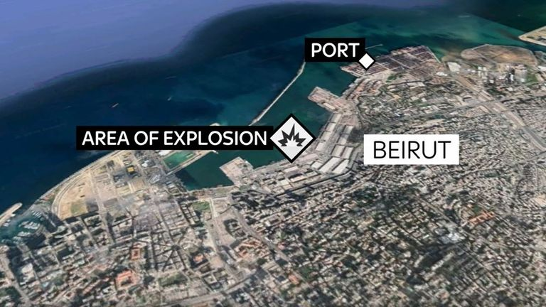 Map shows where Lebanon explosion took place