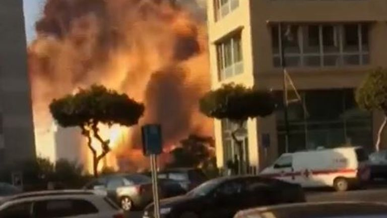 Explosion in Lebanon is seen up close from ground level