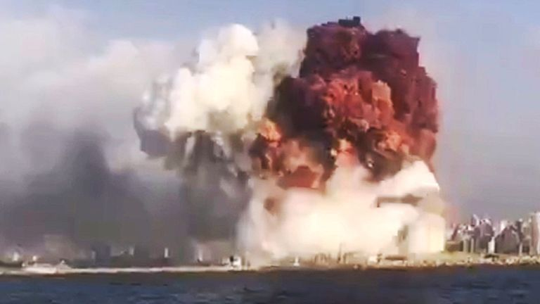 Large explosion in harbour area. Pic: EPA-EFE/Shutterstock
