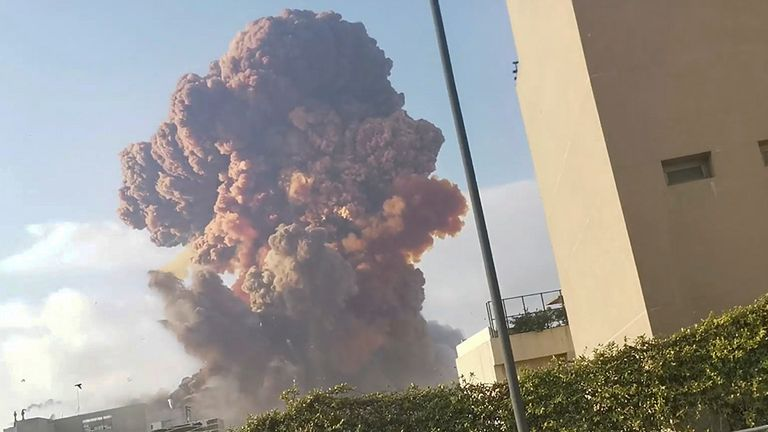 Smoke rises after an explosion in Beirut. Pic: Karim Sokhn/Instagram/Ksokhn + Thebikekitchenbeirut/Reuters