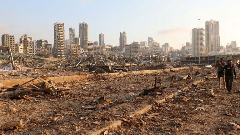 A view shows damages at the site of an explosion in Beirut, Lebanon August 4, 2020. REUTERS/Mohamed Azakir