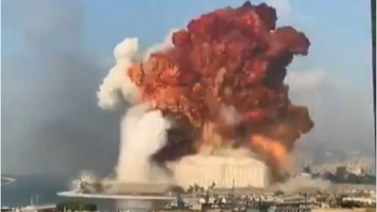 Footage shows the moment a large building explodes