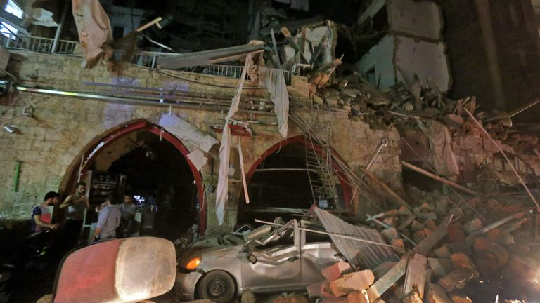 A street in the centre of Lebanon's capital Beirut was wrecked in the blast