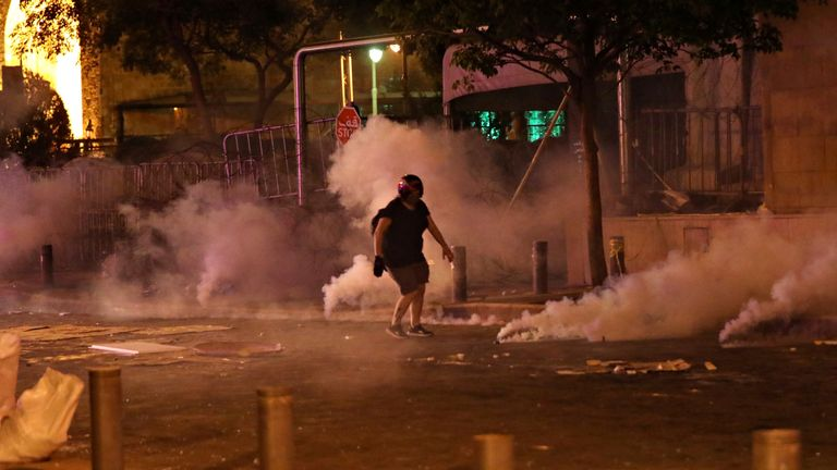 Security forces fired tear gas at protesters near Lebanon's parliament in central Beirut