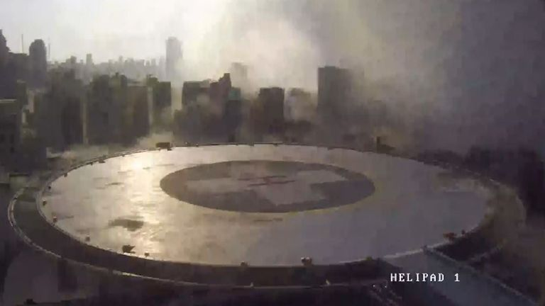 The explosion seen from the hospital's helipad