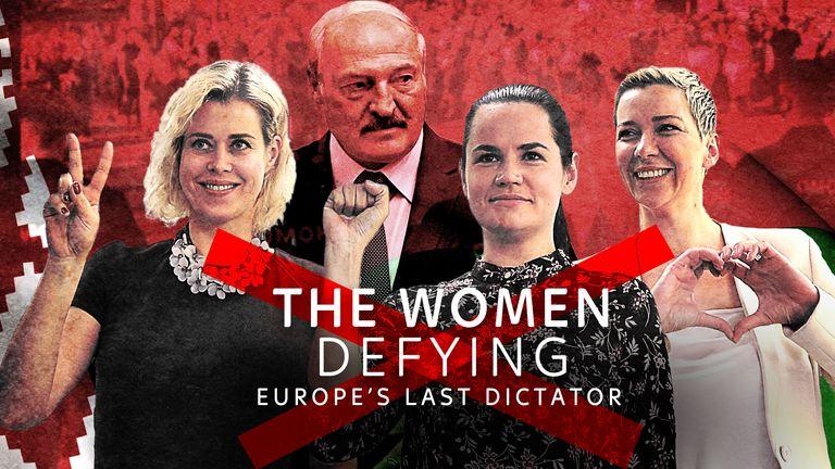 (L-R) Veronika Tsepkalo, Svetlana Tikhanovskaya and Maria Kolesnikova are taking on Belarus' long-time president Alexander Lukashenko