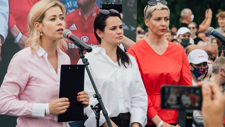 (L-R) Veronika Tsepkalo, presidential candidate Svetlana Tikhanovskaya and Maria Kolesnikova campaigning in Minsk in July
