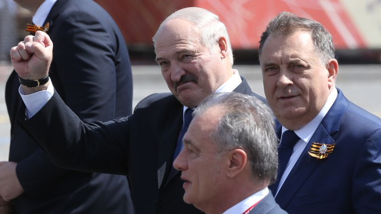 Belarus president Alexander Lukashenko (C), seen in Moscow, is not used to having his hold on power challenged