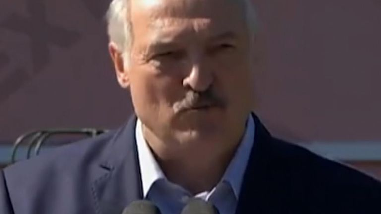 "Workers at a factory shouted ""go away"" or ''leave'' at President Alexander Lukashenko as he visited a factory in Minsk"