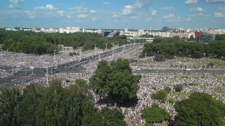 Tens of thousands gather in unprecedented protests in Belarus.