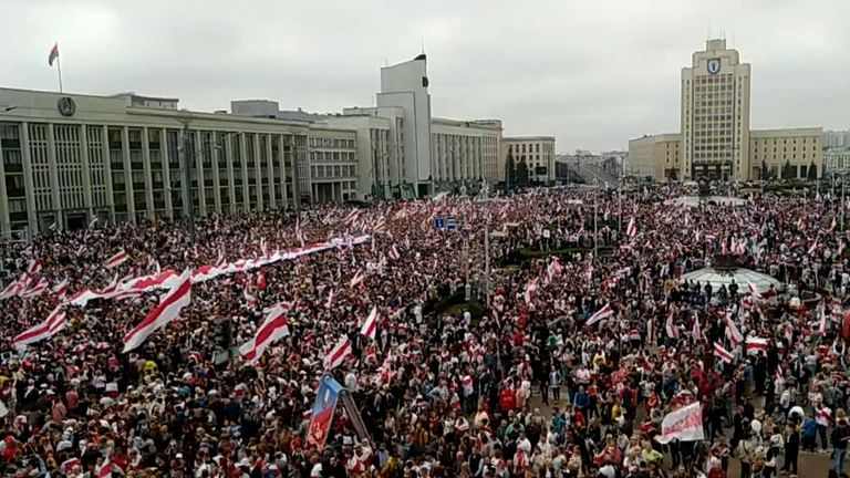 Thousands of people gather at Minsk's Independence Square in Belarus, protesting against the recent reelection for a sixth term of Alexander Lukashenko