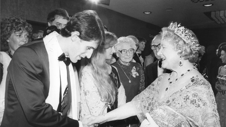 Ben Cross with the Queen Mother at the premiere of Chariots of Fire in 1981