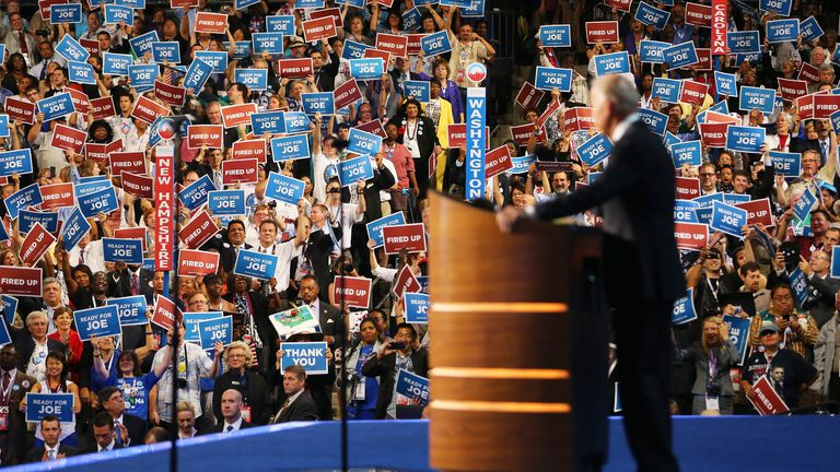 Joe Biden appears on stage at the 2012 Democratic National Convention
