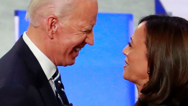 Then candidates Joe Biden and Kamala Harris during the second Democratic US presidential debate in Detroit, Michigan, 31 July 2019