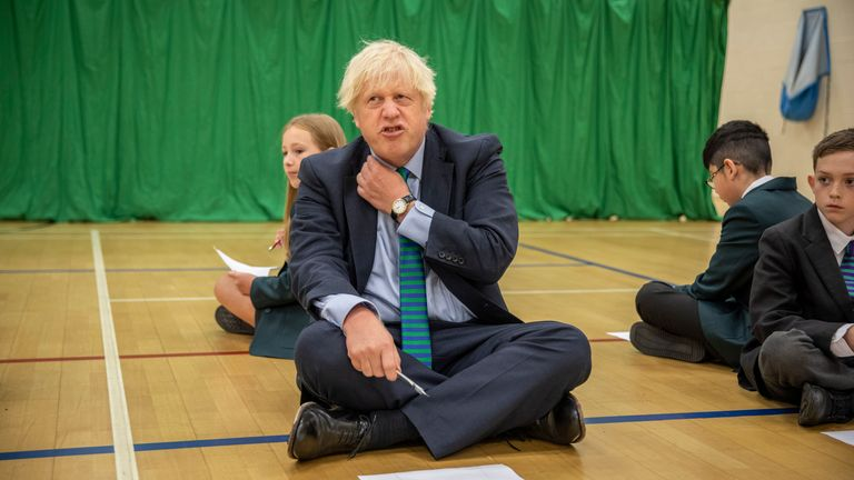 Boris Johnson during a school visit in Coalville