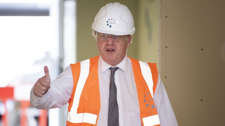 Prime Minister Boris Johnson during a visit to the construction site of Hereford County Hospital in Herefordshire. The hospital is expanding with a three storey modular building, providing 72 new beds over three wards, currently under construction and due to open in 2021