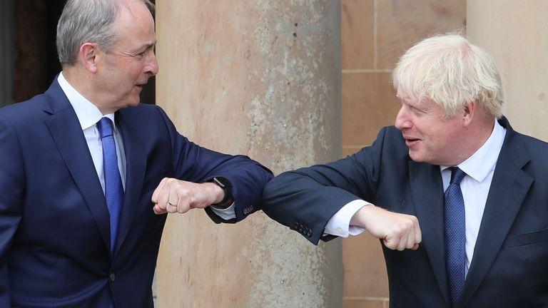 Mr Johnson, right, also met his Irish counterpartMicheal Martin