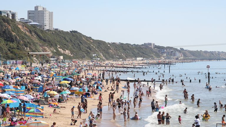 Bournemouth Beach in Dorset has become busy