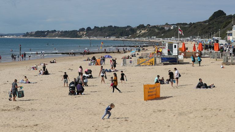 The beach at Bournemouth was still a bank holiday destination for some people despite the cooler temperatures