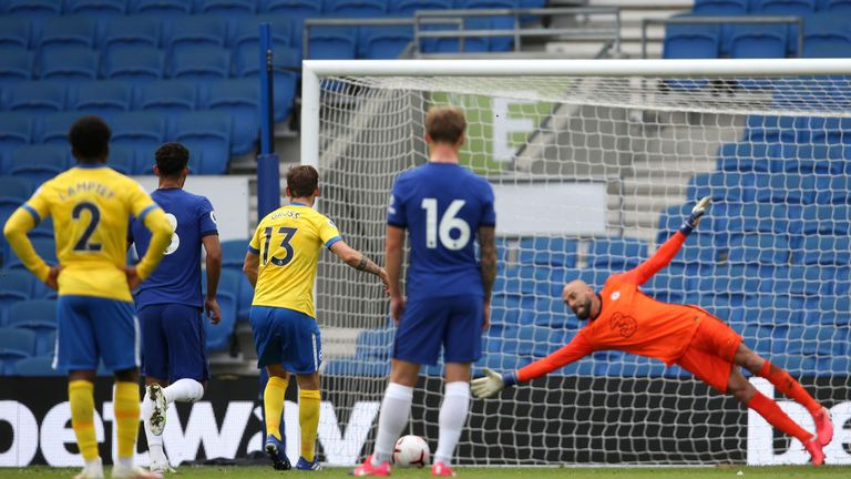 BRIGHTON, ENGLAND - AUGUST 29: Pascal Gross of Brighton and Hove Albion scores his sides first goal from the penalty spot during the pre-season friendly between Brighton & Hove Albion and Chelsea at Amex Stadium on August 29, 2020 in Brighton, England. (Photo by Steve Bardens/Getty Images)