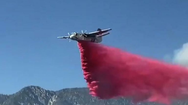 Aerial Firefighters Drop Retardant to Combat Raging Apple Fire Credit CAL FIRE/Riverside County Fire Department