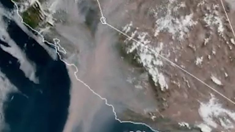 Satellite images show California under smoke from wildfires