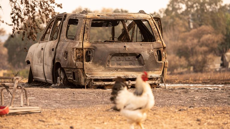 A burnt out vehicle near Vacaville, California