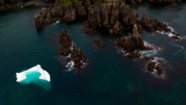 """An iceberg floats near Bonavista in the early morning of July 7, 2019 in Newfoundland, Canada. - Iceberg water, considered pure, is now marketing for a unique sector of high-end products. """"We are trying to target the niche market for healthy foods and products,"""" says former fisherman Edward Kean, an iceberg hunter. For 20 years, he has been cruising the North Atlantic aboard his fishing boat to retrieve chunks of ice to melt and sell the water to local traders. Customers include manufacturers of"""