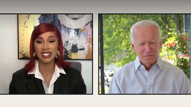 Cardi B interviewed Joe Biden for an Elle magazine interview. Pic: Elle magazine
