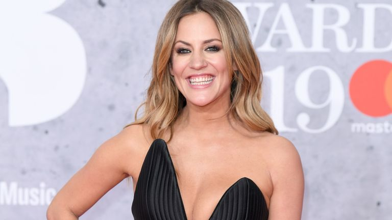 Caroline Flack arrives for the Brit Awards at the 02 Arena, London in 2019