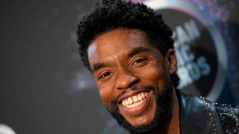 US actor Chadwick Boseman poses in the press room during the 2019 American Music Awards at the Microsoft theatre on November 24, 2019 in Los Angeles