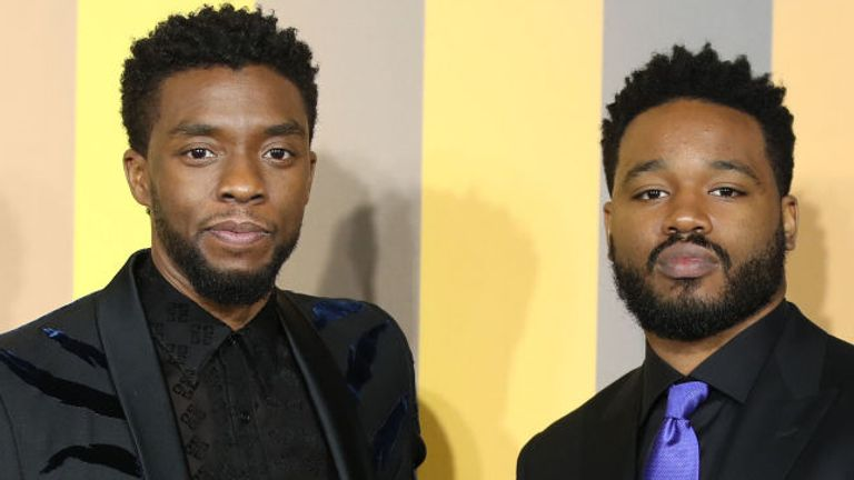 LONDON, ENGLAND - FEBRUARY 08: Chadwick Boseman and Ryan Coogler attend the European Premiere of 'Black Panther' at Eventim Apollo on February 8, 2018 in London, England. (Photo by Mike Marsland/Mike Marsland/WireImage)