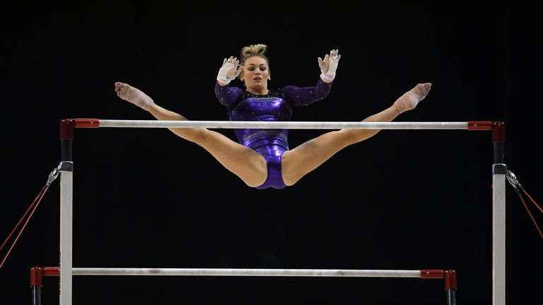 LIVERPOOL, ENGLAND - MARCH 11: Charlie Fellows of Park Wrekin School of Gymnastics competes on the Unevan Bars in the WAG Senior Apparatus Final during the Gymnastics British Championships at Echo Arena on March 11, 2018 in Liverpool, England. (Photo by Laurence Griffiths/Getty Images)