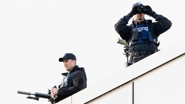 Police snipers on the roof of Christchurch High Court