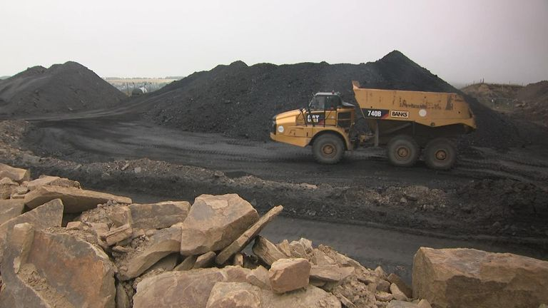 The open cast pit produces 150,000 tonnes of coal a year