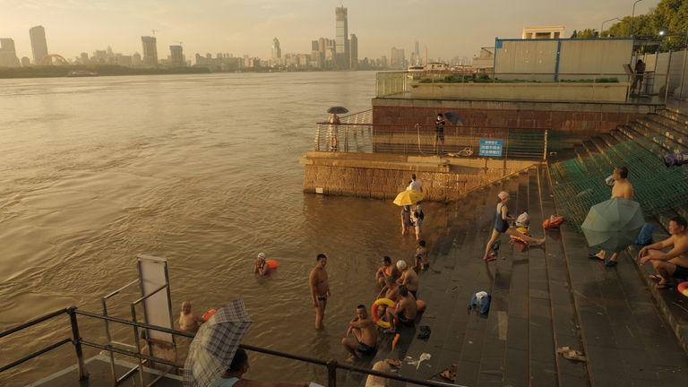 Wuhan residents swim in the Yangtze River