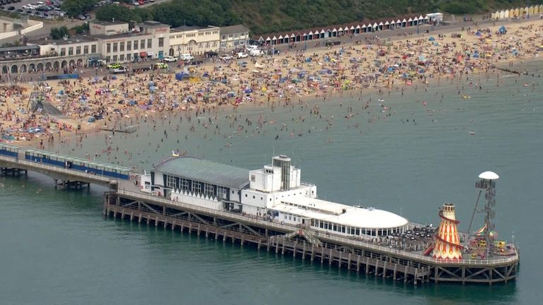 On Saturday, police in Bournemouth urged people to avoid packed beaches