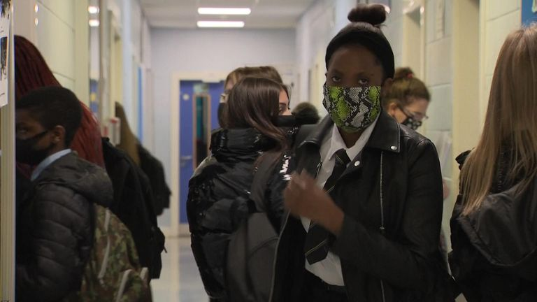 Pupils wearing masks at Springburn Academy in  Glasgow