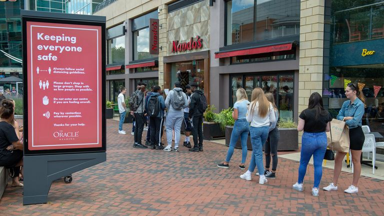 People queuing outside of restaurants  on the day ...Eat Out To Help Out... scheme is launched TODAY with 50% off meals at half of UK's restaurants, Reading, 3rd August 20202