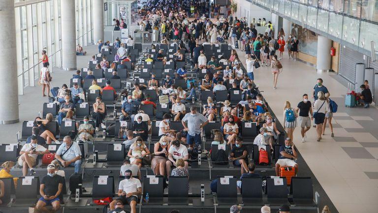 People wait for planes at Split airport, as Croatia struggles with more cases of coronavirus disease (COVID-19), in Split, Croatia August 20, 2020. Picture is taken August 20, 2020. REUTERS/Antonio Bronic