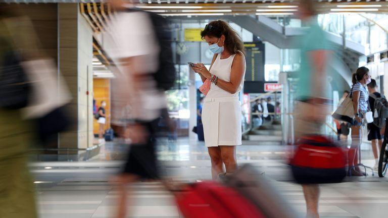 Tourists wait at Split International Airport in Croatia