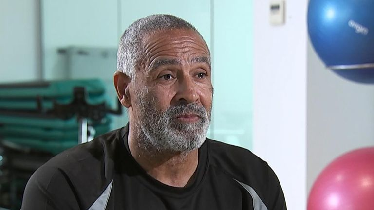 Daley Thompson in the gym.
