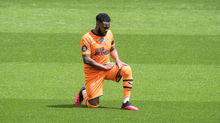 The footballer takes a knee during a Premier League match