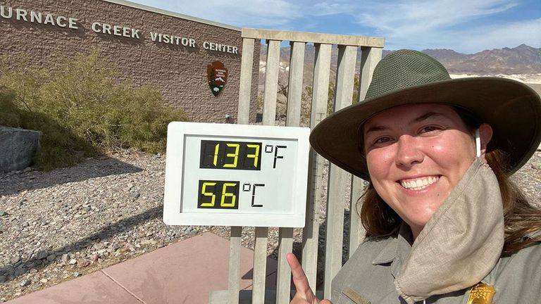 The thermometer outside the Furnace Creek Visitor Center reads a few degrees higher than the actual temperature Pic: Park Ranger Caroline Rohe