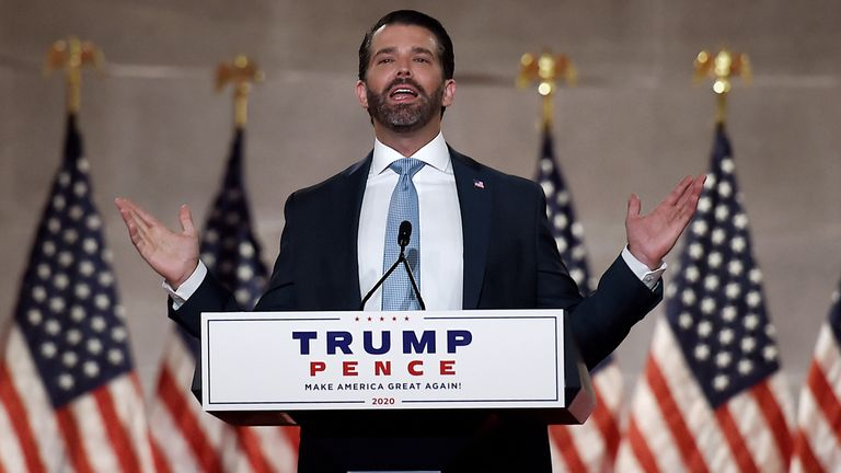 Donald Trump Jr speaks during the first day of the Republican convention