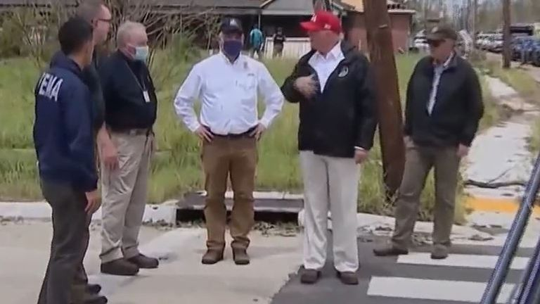Donald Trump visits Louisiana to see hurricane damage