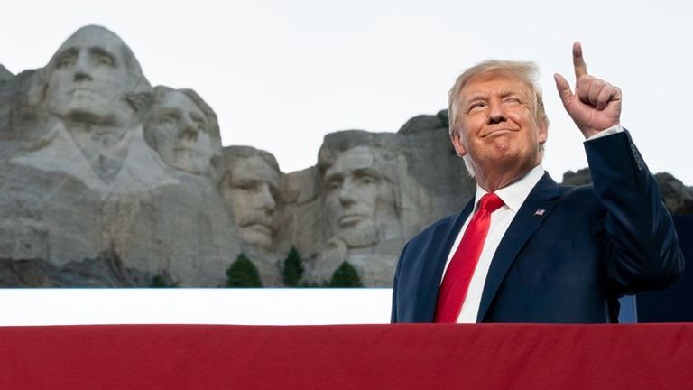 Donald Trump tweeted this image of himself beside Mount Rushmore, saying it was a 'good idea'