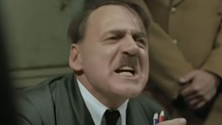 Bruno Ganz portraying Hitler in his desperate final hours, in the 2004 movie Downfall