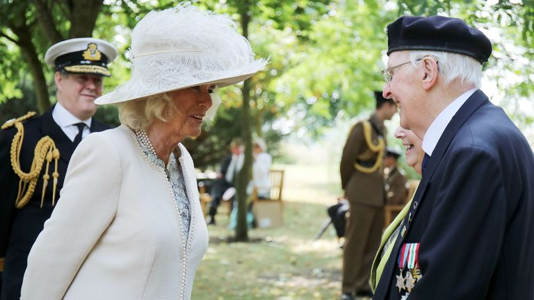 The Duchess of Cornwall chats to a Second World war veteran