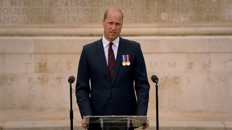 The Duke of Cambridge addressing the nation during a televised tribute honouring veterans on VJ Day